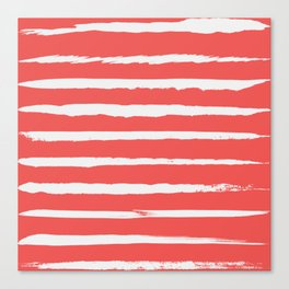 Irregular Hand Painted Stripes Coral Red Canvas Print