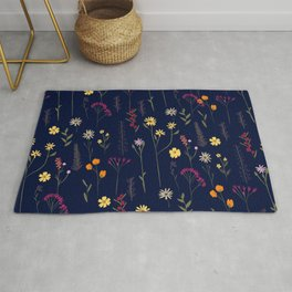 Hand drawn cute dried pressed flowers illustration navy blue Rug