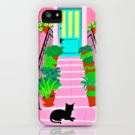 Pink house with  black cat iPhone Case