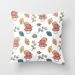 cute lovely autumn fall pattern with birds, mushroom, leaves, branches, acorns and chestnuts Throw Pillow