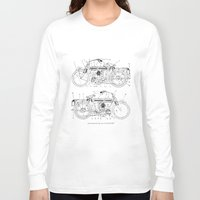 motorcycle Long Sleeve T-shirts featuring Motorcycle Diagram by marcusmelton