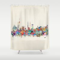 india Shower Curtains featuring Delhi india skyline by bri.buckley