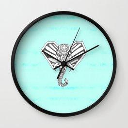 Hand Drawn Bohemian Tangle Elephant Aqua Tie Dye Wall Clock