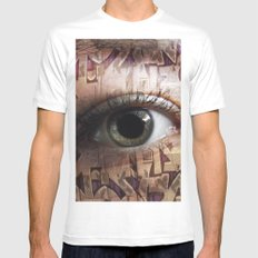 Graffiti Eye  White Mens Fitted Tee LARGE