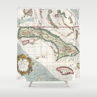 jamaica Shower Curtains featuring Vintage Map of Cuba and Jamaica (1763) by BravuraMedia