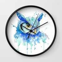 hedwig Wall Clocks featuring Color Hedwig  by Simona Borstnar
