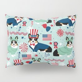 Tri Corgi Fourth of July American Independence Day July 4th Patriotic Corgis Pillow Sham