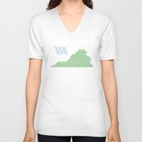 virginia V-neck T-shirts featuring Virginia by Hum Chee