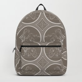 Grisaille Chestnut Brown Neo-Classical Ovals Backpack