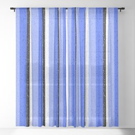 Speckled Blue Vertical Line Pattern Sheer Curtain