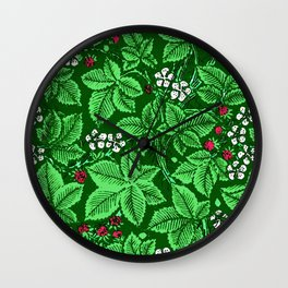Art Nouveau Strawberries and Leaves, Emerald Green Wall Clock