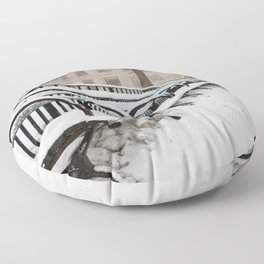 Snowing in Central Park Floor Pillow