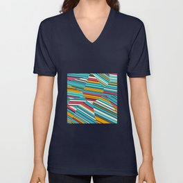 Coral Reef - Voronoi Stripes Unisex V-Neck