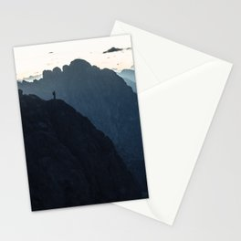 Hiker on mountain range Stationery Cards