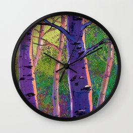 Poplars in winter at the sunset Wall Clock