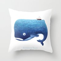 moby Throw Pillows featuring Moby Dick by Arianna Usai