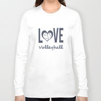 volleyball Long Sleeve T-shirts featuring Love Heart Volleyball (blue) by raineon