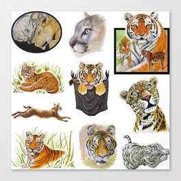 Big Cat Sticker Pack 1 Canvas Print