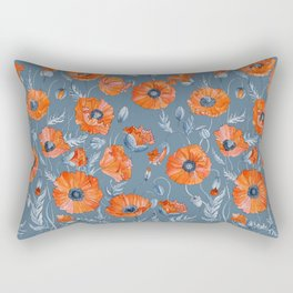 Red poppies in grey Rectangular Pillow