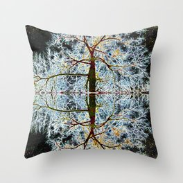 Electric Tree Double Reflection Throw Pillow