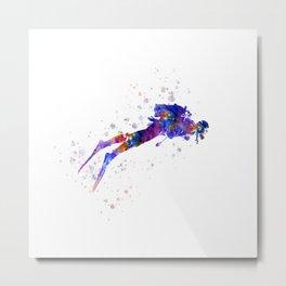 scuba diver in watercolor Metal Print