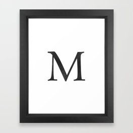 Letter M Initial Monogram Black and White Framed Art Print