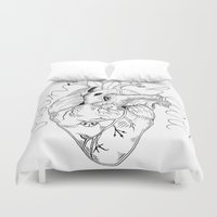 vegan Duvet Covers featuring Vegan Heart by Mieko