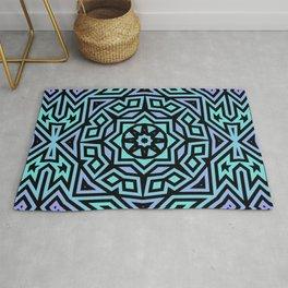 Aqua/Lilac/Black Tribal Pattern Rug