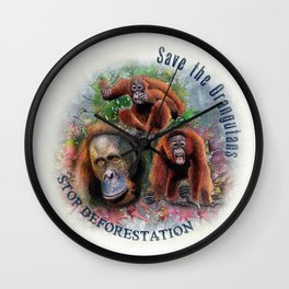 Save the Orangutans Watercolor Illustration Wall Clock