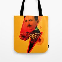 tesla Tote Bags featuring Tesla by Chincol