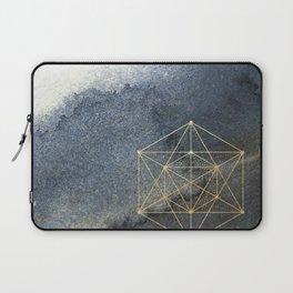 Sacred Geometry Indigo Blue & Gold Watercolor Laptop Sleeve