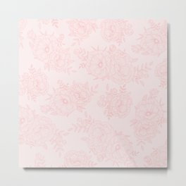 line floral rose pattern Metal Print