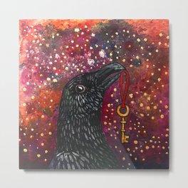 Key Crow Metal Print