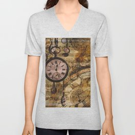 Candy's Steampunk-Music Time Unisex V-Neck