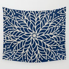 Modern navy blue ivory hand painted floral mandala Wall Tapestry