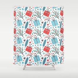Christmas Mistletoe and Gift Pattern Shower Curtain