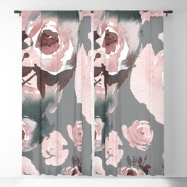 Pink Roses Grey Floral Blackout Curtain
