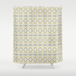 Geometrical pattern in yellow and  grey Shower Curtain