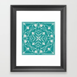 Turquoise Batik Framed Art Print