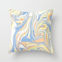 Blush yellow orange blue abstract watercolor marble Throw Pillow