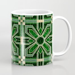 Art Deco Floral Tiles in Emerald Green and Faux Gold Coffee Mug