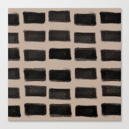 Brush Strokes Horizontal Lines Black on Nude Canvas Print