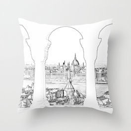 Budapest and hungarian parliament Throw Pillow