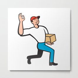 Delivery Worker Deliver Package Cartoon Metal Print