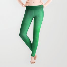 Abstract Watercolor Blend 2 Deep Dark Green and Light Green Leggings