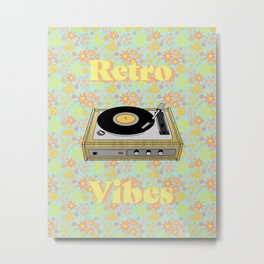 Retro Vibes Record Player Design in Yellow Metal Print
