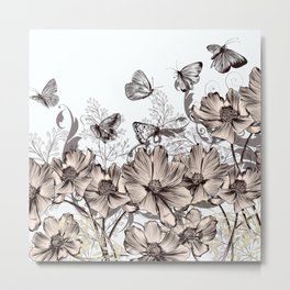 Background with flowers and butterflies Metal Print