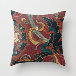Flowery Arabic Rug III // 17th Century Colorful Plum Red Light Teal Sapphire Navy Blue Ornate Patter Throw Pillow