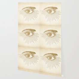 I See You. Vintage Gold Antique Paper Wallpaper
