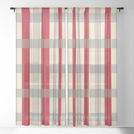 Red Striped Plaid Sheer Curtain